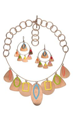 Single-Strand Necklace and Earring Set with Silver-Plated Brass with Double-Sided Epoxy Drops and Copper Embellishments and Chain