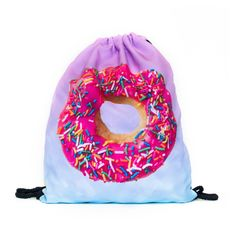 Pink Donut Drawstring Bag With all this pink icing and sprinkles, Homer Simpson would be jealous of a donut so perfect! Guaranteed to increase your holy-ness by 100%! Our drawstring bags are made of polyester and printed with vibrant allover designs that are guaranteed to never fade or peel. The fabric is water-resistant for durability and to help keep your items dry and protected. Bags are 39 x 30 cm / 15.35 x 11.8 in.