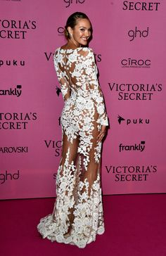 Candice Swanepoel.. Zuhair Murad white floral embroidered sheer long-sleeve Spring 2015 gown..