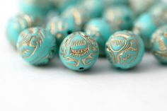 Turquoise Gold Acrylic Beads Etched Ornate by ReductionNation