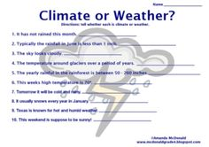 Weather And Climate Worksheets - Worksheets