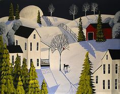 Original Painting Folk Art Landscape Winter Snow Black Cat Red Bird Country Farm | eBay