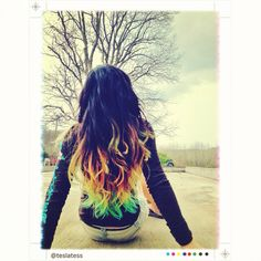 #Ombre hair dip dyed with kool aid. if you have dark hair such as black or brown, you have to bleach the part you want to dip before you dip otherwise it wont work
