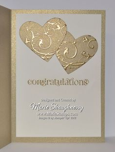 Stamping Inspiration - Golden Anniversary Card…gold paper…luv the look of gold embossing on mat gold paper…two heart - 50th Anniversary Cards, Golden Anniversary, Anniversary Ideas, Diy Anniversary Cards For Parents, Handmade Anniversary Cards, Marriage Anniversary, Karten Diy, Engagement Cards, Embossed Cards