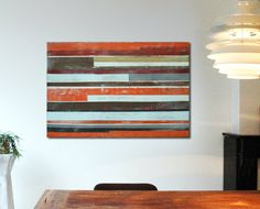 Orange Striped Canvas  Large Abstract Painting  door RonaldHunter, $329.00