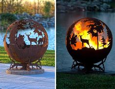 19 Creative Diy Rusted Metal Projects To Beautify Your Yard - Chalkboard Art Cool Fire Pits, Metal Fire Pit, Fire Pit Globe, Forest View, Fire Pit Designs, Metal Projects, Diy Projects, Project Ideas, Oeuvre D'art