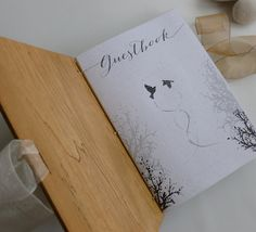 Guest book with content Wooden covers Nature lovers by lacunawork