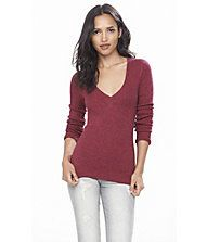 Marl Fitted V-neck Sweater   Express