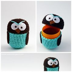 This idea is very clever.  The owl can be crochet or created with felt to hold a surprise in the plastic egg.