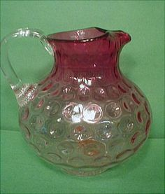 Lovely Rubina Polka Dot, Inverted Thumbprint Blown Pitcher