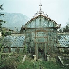 Abandoned Victorian Style Greenhouse, Villa Maria, in northern Italy near Lake Como. The exact location of the photo was over the hotel Villa Carlotta in Tremezzo near Lake Como in northern Italy. The Villa Maria has undergone a restoration since Old Buildings, Abandoned Buildings, Abandoned Places, Abandoned Castles, Beautiful Buildings, Beautiful Places, Beautiful Architecture, Interesting Buildings, Romantic Places