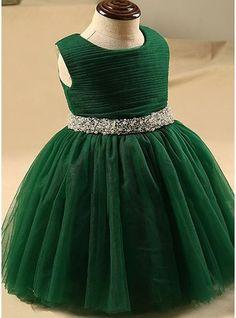 Ball Gown Knee-length Flower Girl Dress - Tulle Sleeveless Scoop Neck With Beading