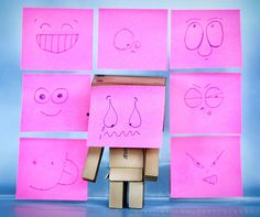 Love this idea. Danbo, 7 11 Logo, Cardboard Robot, Pool Images, Cute Box, Sad Faces, Robot Art, Cute Cartoon, Craft Projects
