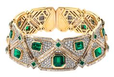 Designed around 1991 by Marina B (that's Marina Bulgari, granddaughter to company founder Sottiro Bulgari), the Selma necklace is outfitted in over 120 carats of diamonds and emeralds of varying calibers. Set in 18 karat white and yellow gold, this necklace boasts 62.02 carats of emeralds and 61 carats of pavé-set baguette diamonds. Available at Crest and Co. and priced at $3.5 million.