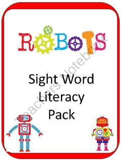 """ROBOTS Sight Word Literacy Center - 59 pages from Teaching my Two on TeachersNotebook.com - (59 pages) - This 59 page Sight Word Literacy Center set has tons of games to help learn sight words, including: - Sight Word Shuffle: (Pre-Primer AND Primer cards) - """"Roll a Sight Word"""": and more!"""