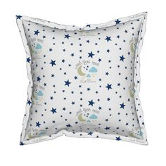 Serama Throw Pillow featuring Moon Sweet Dreams 7- navy on white by drapestudio | Roostery Home Decor