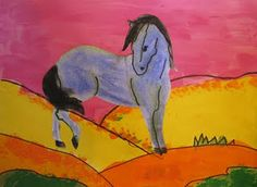 Franz Marc - make it for older students by having them draw their own horse instead of coloring page