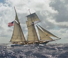 "Privateer schooner ""Lynx"" with a fresh breeze.Replica of a vessel from War of 1812 (which became HMS Mosquidobit on her 2nd voyage) Built 2001,based in California,100t."