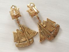 Vintage 80s YSL Yves Saint Laurent Sailing Ship Earrings Seen Similar on RIHANNA