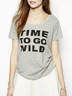 Time To Go Wild Print T-shirt - Fashion Clothing, Latest Street Fashion At Abaday.com