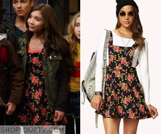 Riley Matthews (Rowan Blanchard) wears this floral overall dress in this week's episode of Girl Meets World. It is the Forever 21 Multicolor Sweet Floral Overall Dress. Sold out.