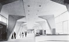Breuer-Nervi-Zehrfuss Architectes, Unesco Headquarters, Paris, 1959. Lobby of Secretariat Building.