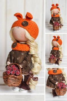 Winter doll Fabric doll Interior doll Handmade doll Textile doll Tilda doll Orange doll Cloth doll Baby doll Art doll by Master Tanya E