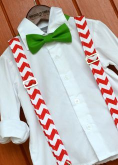 Dressed to Thrill - 2014 Christmas Collection - Red & White Chevron Suspenders with Solid Green Bowtie www.idresstothrill.com