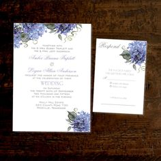 Printable Wedding Invitations Template, Set includes RSVP, Purple Lilacs by DogwoodHillDesign on Etsy https://www.etsy.com/listing/473771561/printable-wedding-invitations-template