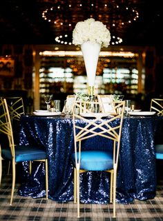 Blue and Gold wedding, Old Hollywood wedding, sequin, Las Vegas Wedding, navy gold wedding