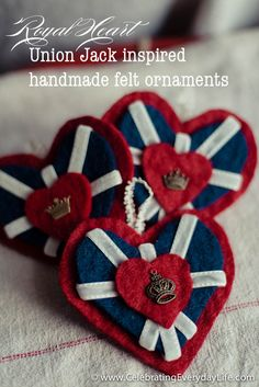Royal Heart Union Jack inspired handmade felt ornament tutorial, Easy Christmas Craft | Celebrating everyday life with Jennifer Carroll