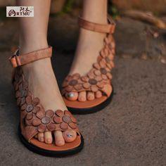 2017 genuine leather women sandals vintage handmade women's shoes flower open toe comfortable wedges sandals 3228 8 купить на AliExpress