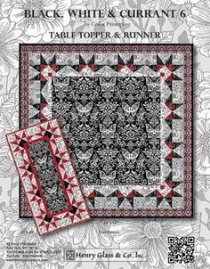 Red Rooster Quilts: Shop   Category: Patterns - Download for FREE   Product: Black White & Currant 6 Downloadable Table Topper and Runner Patterns