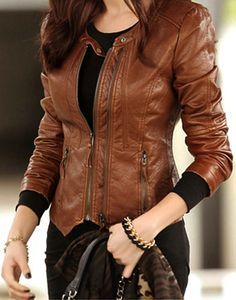 light brown leather jacket women outfit - Google Search