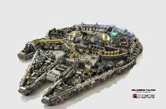 Le groupe de passionnés de Lego basé à Singapour qui se fait appeler Titans Creations a créé ce Millennium Falcon hyper détaillé et vu en coupe qui montre les détails de l'intérieur du vaisseau de Star Wars.