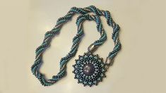 Beaded Necklace: resin cabochon bezeled with beads and crochet rope | Be...