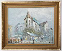 Signed Burnett Original Oil on Board Painting Picture Framed Paris Street Scene