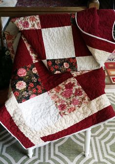 Red and beige vintage Handmade Queen Quilt by QuiltsbyMariam