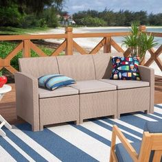 Breakwater Bay Stockwell Patio Sofa with Cushions Frame Color: Dark Gray, Cushion Color: Light Gray Contemporary Outdoor Sofas, Patio Loveseat, Rattan Sofa, Foam Cushions, Outdoor Spaces, Small Spaces, Love Seat, Outdoor Furniture Sets