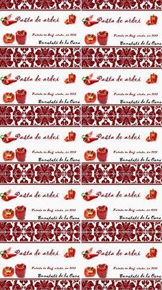 Etichete borcane - pasta de ardei rosu Jar Labels, Pasta, Ideas, Canning, Noodles, Thoughts, Pasta Dishes