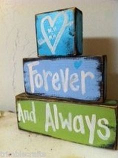 Forever and Always sign stacking shelf sitter wooden blocks personalized heart | eBay