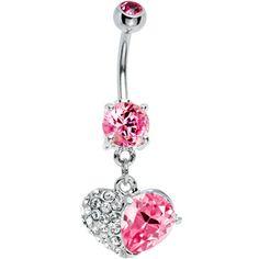Pink Gem Half My Heart Belly Ring #piercing #bodycandy #bellyring $4.99