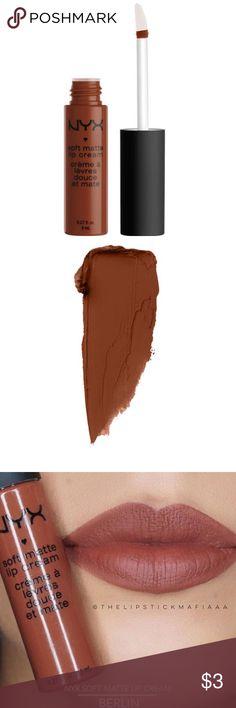 "NYX Soft Matte Lip Cream- ""Dubai"" MEDIUM WARM BROWN. NYX Makeup Lipstick"