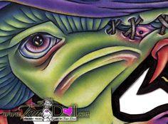 Artist TanDoll Signed ORIGINAL Art Drawing Colored Pencil Mushroom Crazy Cartoon #Cartoon