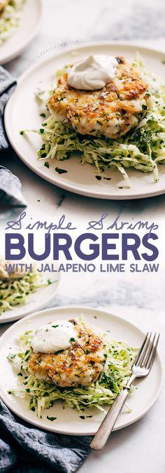 Simple Shrimp Burgers with Jalapeño Lime Slaw #Seafood #Mexican #Healthy