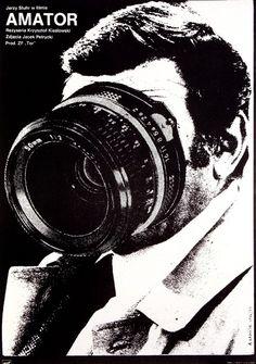 """""""Amator""""/""""Camera Buff"""", Krzysztof Kieślowski (poster by Andrzej Krauze)."""