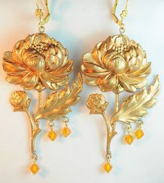 Vintage Raw Brass Earrings Czech Art Nouveau Revival Peony Glass Handmade OOaK  #handmade #DropDangle