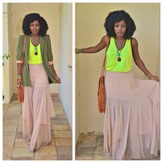 Today's outfit post: Neon and Neutrals