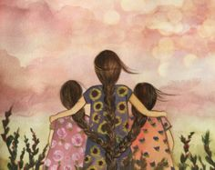 Grandma Quotes Discover gift for mom wall art decor love artwork gift for daughter Mother or sister with two sisters/daughters Sisters Art, Two Sisters, Claudia Tremblay, Mother Daughter Art, Art Mural, Cool Paintings, Oeuvre D'art, Female Art, Wall Art Decor