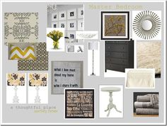 design board for casual gray and yellow room with a little bit of bling